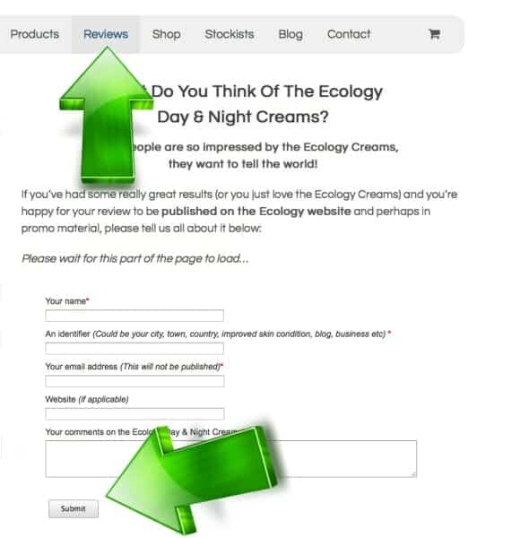 Review submitted on the Review Page of the Ecology website